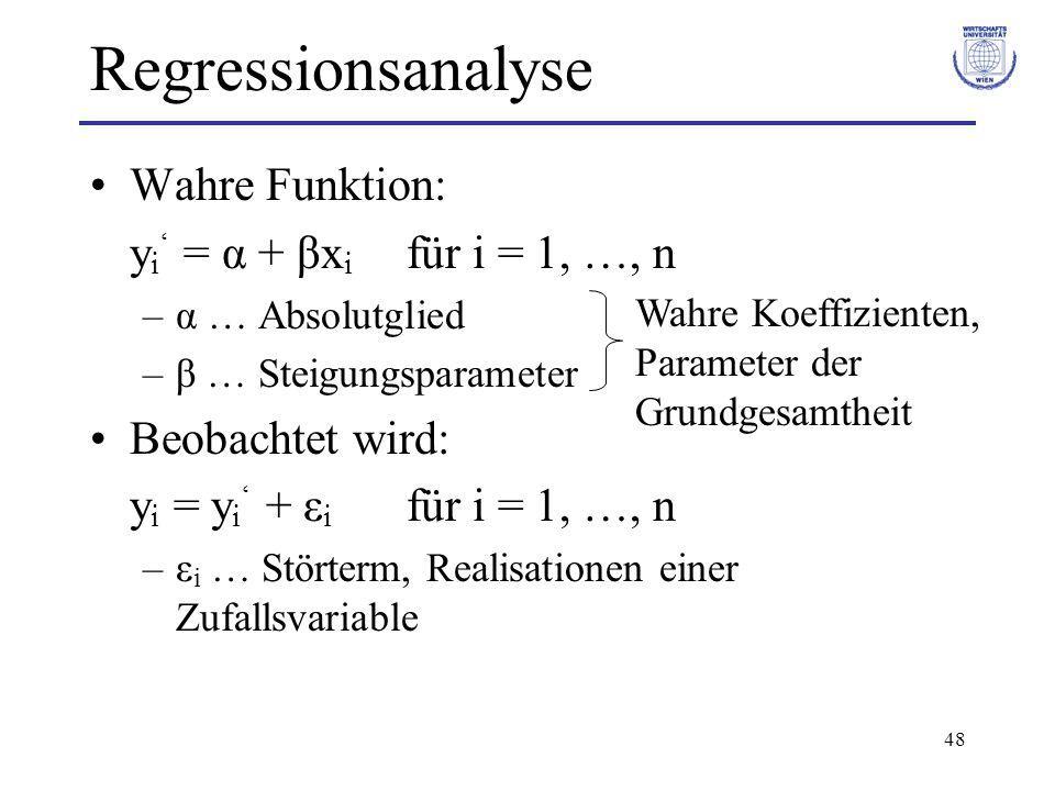 Regressionsanalyse Wahre Funktion: yi' = α + βxi für i = 1, …, n