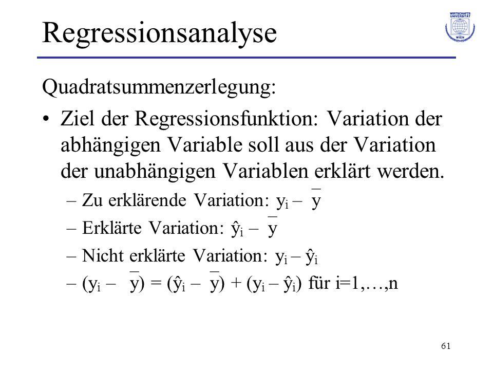 Regressionsanalyse Quadratsummenzerlegung: