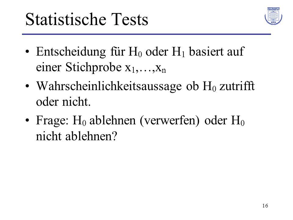 Statistische Tests Entscheidung für H0 oder H1 basiert auf einer Stichprobe x1,…,xn. Wahrscheinlichkeitsaussage ob H0 zutrifft oder nicht.
