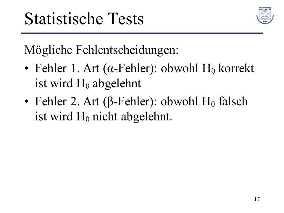 Statistische Tests Mögliche Fehlentscheidungen: