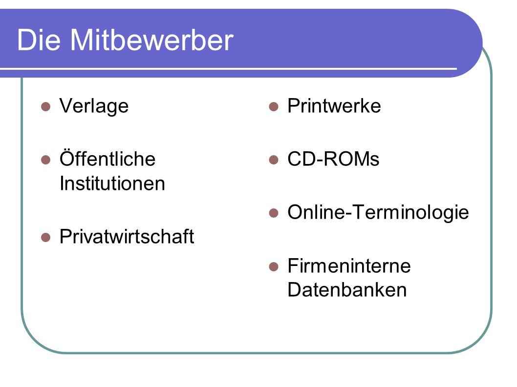 Die Mitbewerber Verlage Öffentliche Institutionen Privatwirtschaft
