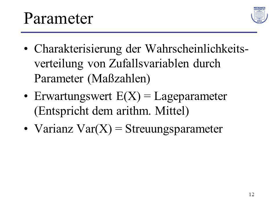 Parameter Charakterisierung der Wahrscheinlichkeits-verteilung von Zufallsvariablen durch Parameter (Maßzahlen)
