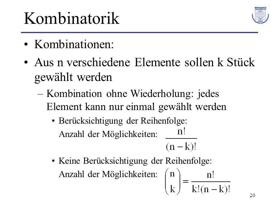 Kombinatorik Kombinationen: