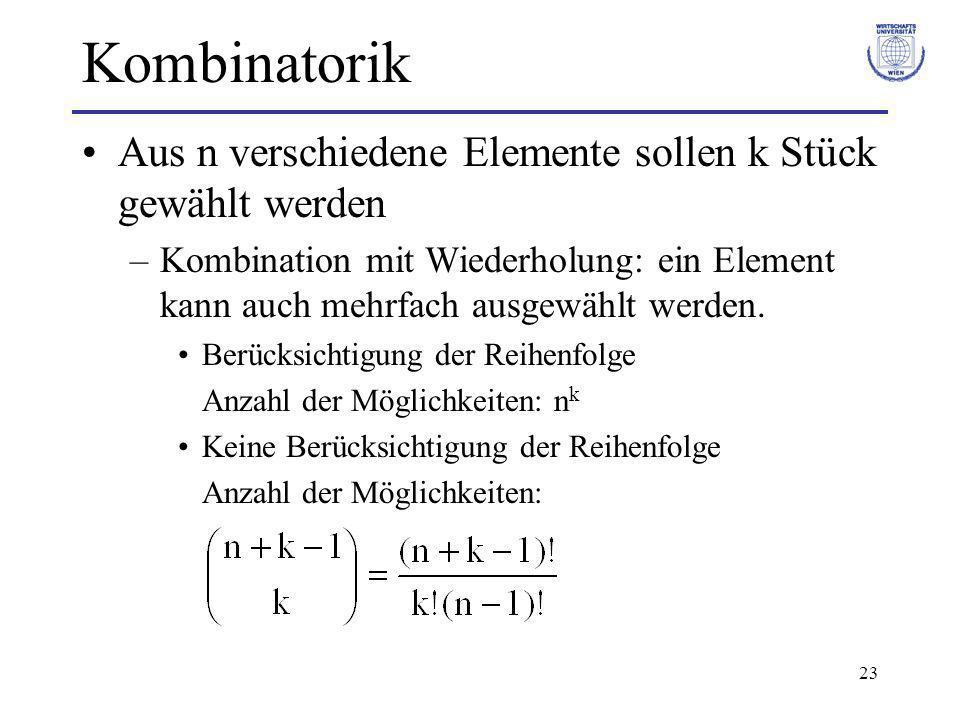 Kombinatorik Aus n verschiedene Elemente sollen k Stück gewählt werden