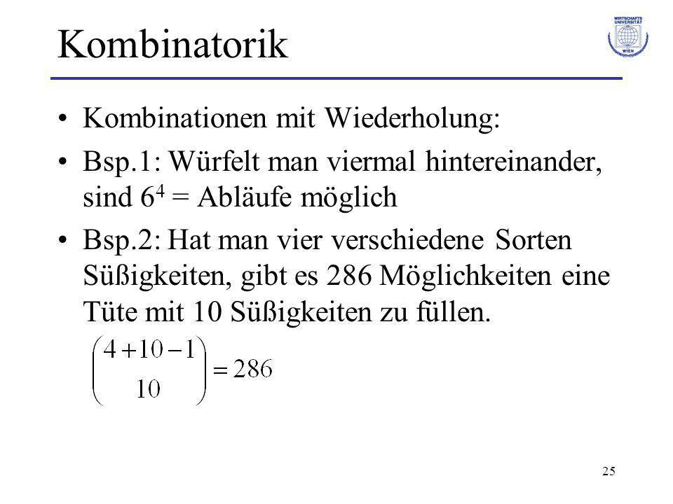 Kombinatorik Kombinationen mit Wiederholung: