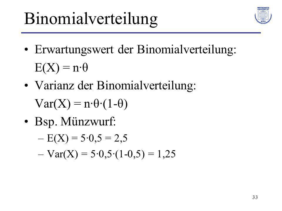 Binomialverteilung Erwartungswert der Binomialverteilung: E(X) = n·θ