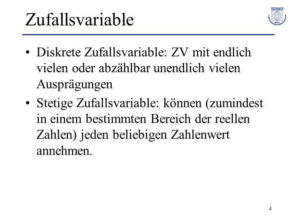 Zufallsvariable Diskrete Zufallsvariable: ZV mit endlich vielen oder abzählbar unendlich vielen Ausprägungen.