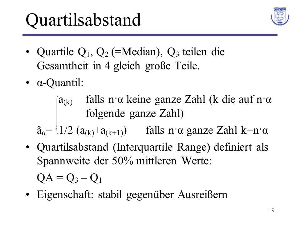 Quartilsabstand Quartile Q1, Q2 (=Median), Q3 teilen die Gesamtheit in 4 gleich große Teile. α-Quantil: