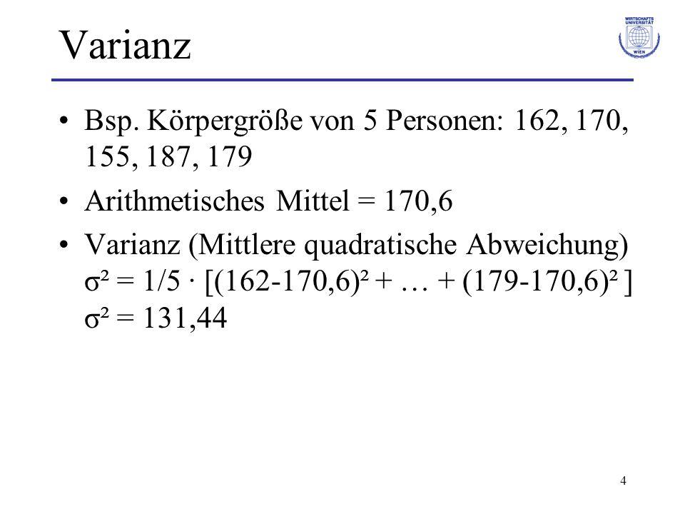 Varianz Bsp. Körpergröße von 5 Personen: 162, 170, 155, 187, 179