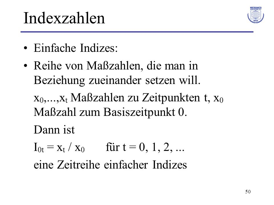 Indexzahlen Einfache Indizes: