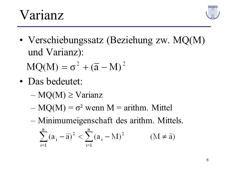 Varianz Verschiebungssatz (Beziehung zw. MQ(M) und Varianz):