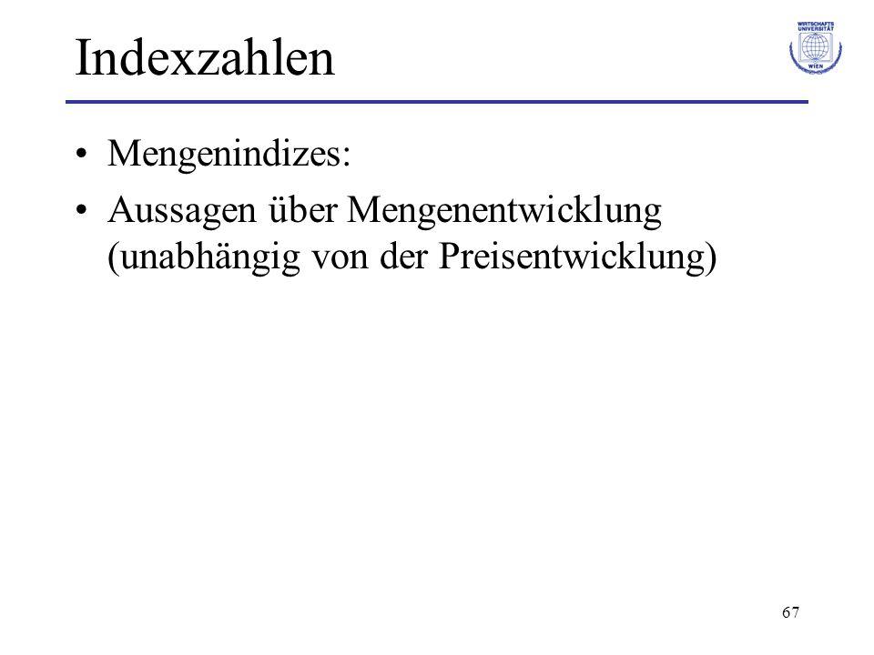 Indexzahlen Mengenindizes: