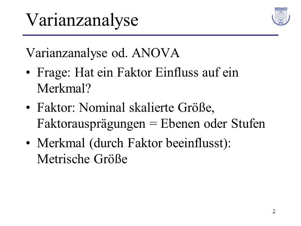 Varianzanalyse Varianzanalyse od. ANOVA