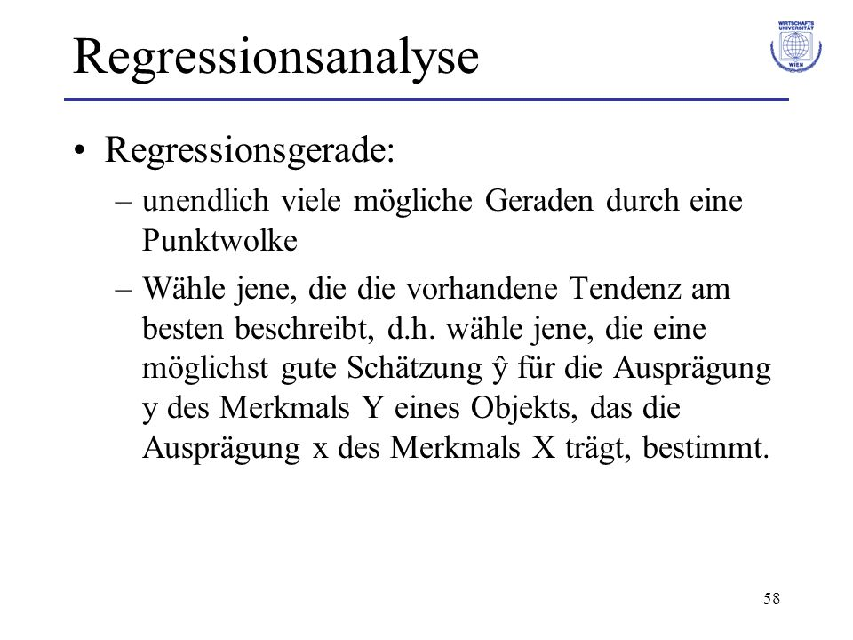 Regressionsanalyse Regressionsgerade: