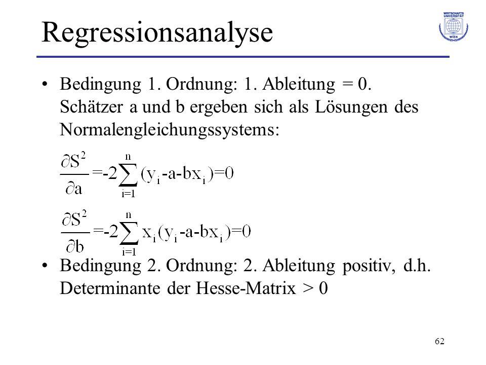 Regressionsanalyse Bedingung 1. Ordnung: 1. Ableitung = 0. Schätzer a und b ergeben sich als Lösungen des Normalengleichungssystems: