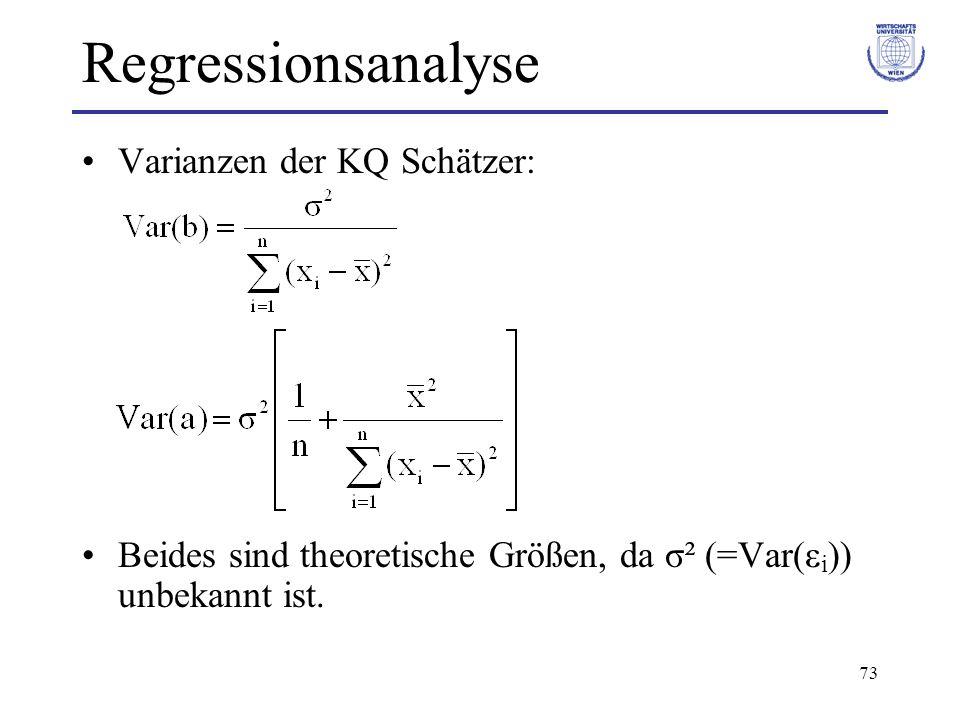 Regressionsanalyse Varianzen der KQ Schätzer: