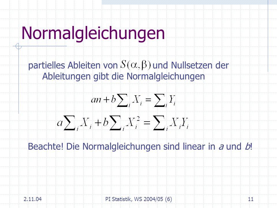 Normalgleichungen partielles Ableiten von und Nullsetzen der Ableitungen gibt die Normalgleichungen.