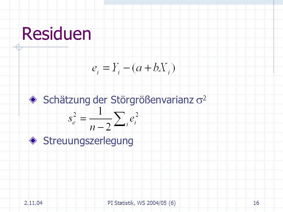 Residuen Schätzung der Störgrößenvarianz s2 Streuungszerlegung 2.11.04