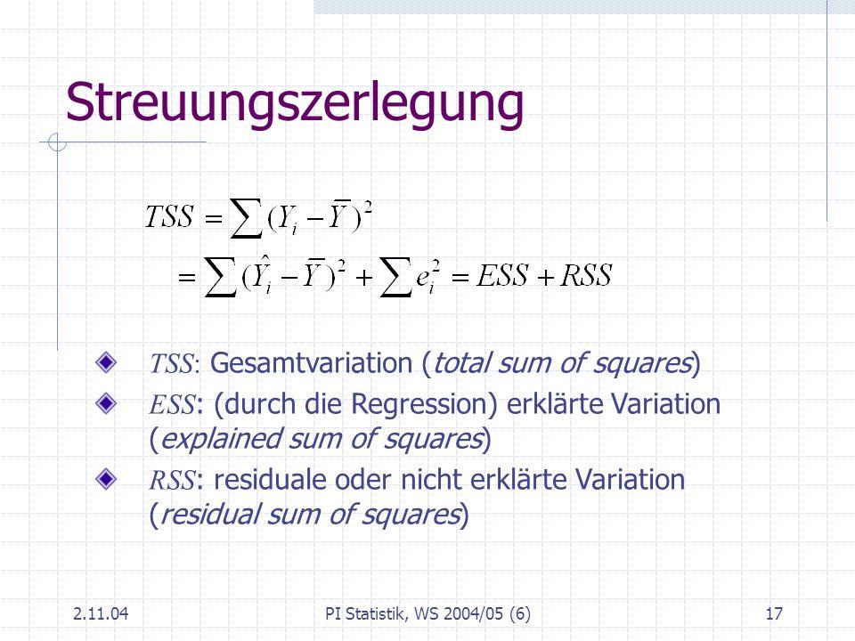 Streuungszerlegung TSS: Gesamtvariation (total sum of squares)