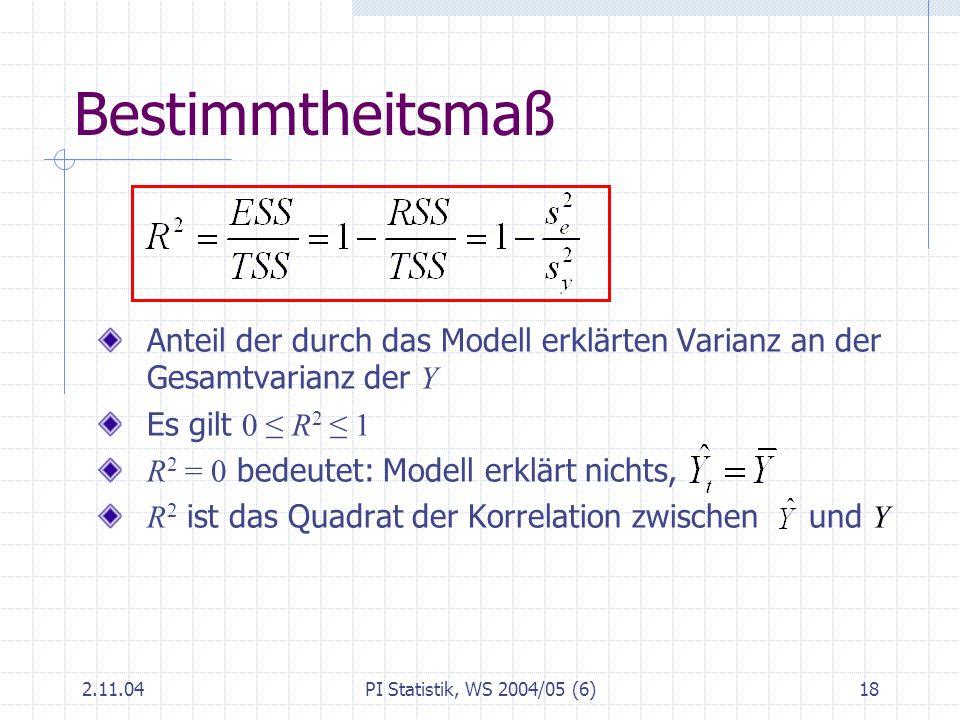 Bestimmtheitsmaß Anteil der durch das Modell erklärten Varianz an der Gesamtvarianz der Y. Es gilt 0 ≤ R2 ≤ 1.