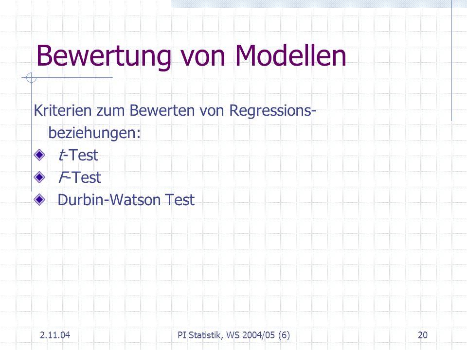 Bewertung von Modellen