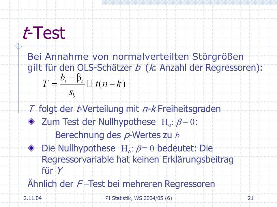 t-Test Bei Annahme von normalverteilten Störgrößen