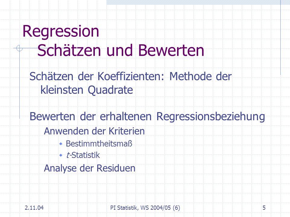 Regression Schätzen und Bewerten