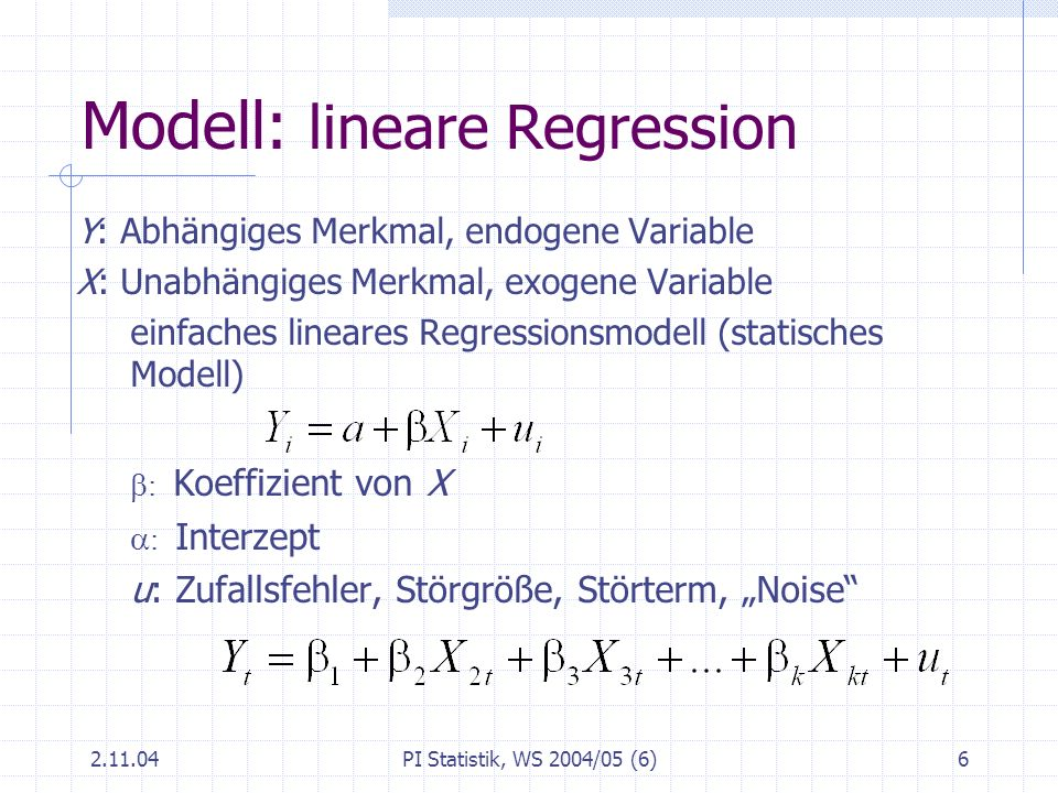 Modell: lineare Regression