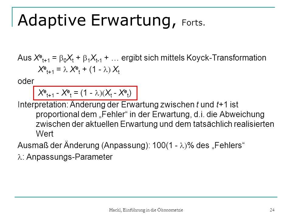 Adaptive Erwartung, Forts.