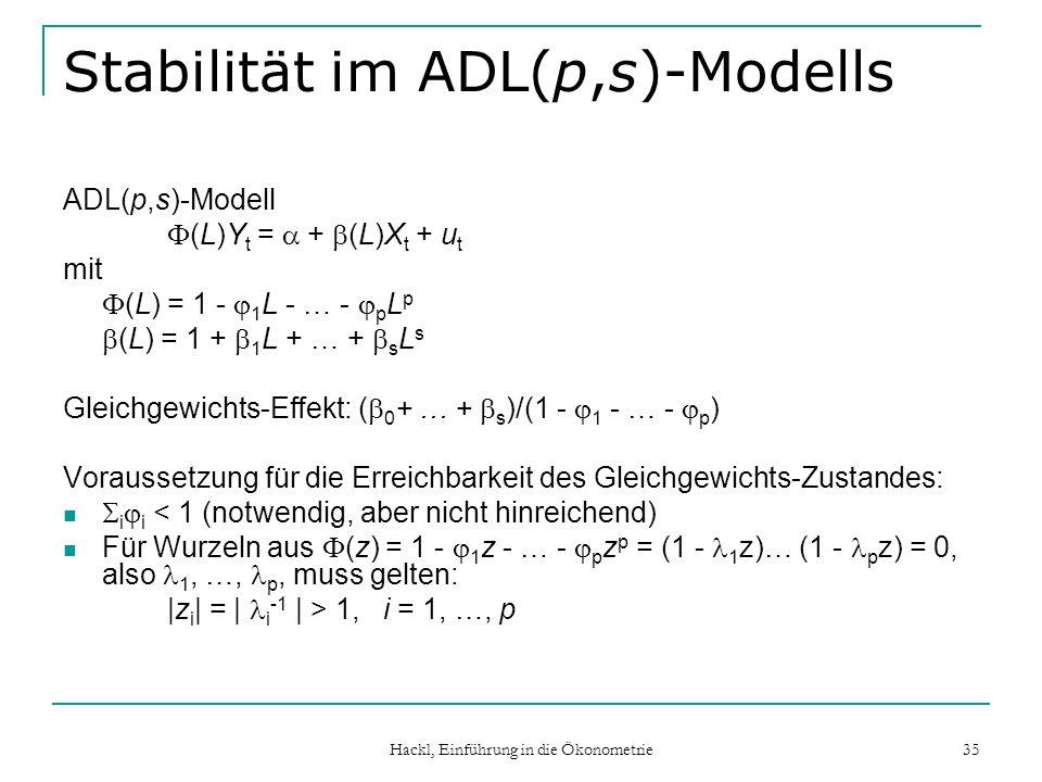 Stabilität im ADL(p,s)-Modells
