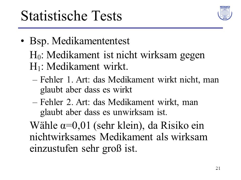 Statistische Tests Bsp. Medikamententest