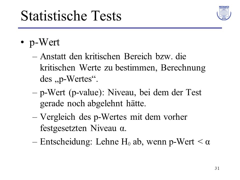 Statistische Tests p-Wert