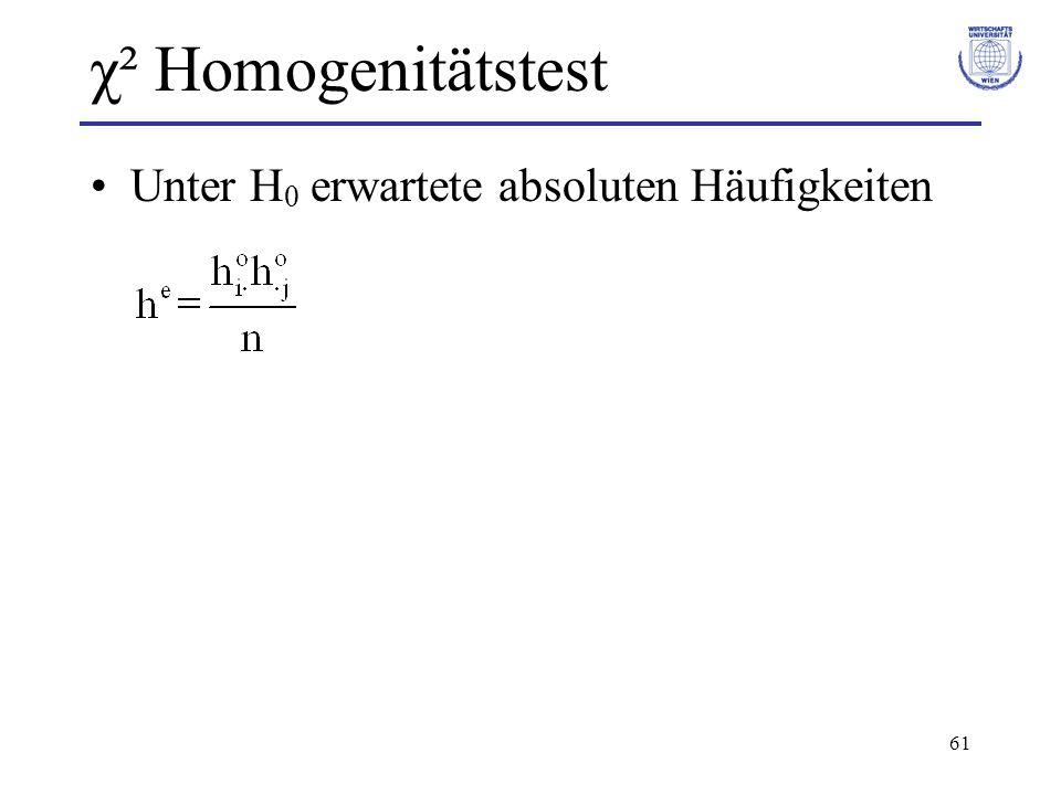 χ² Homogenitätstest Unter H0 erwartete absoluten Häufigkeiten