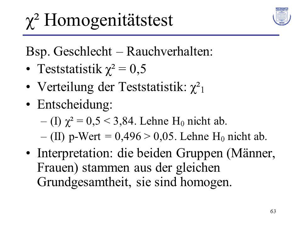 χ² Homogenitätstest Bsp. Geschlecht – Rauchverhalten: