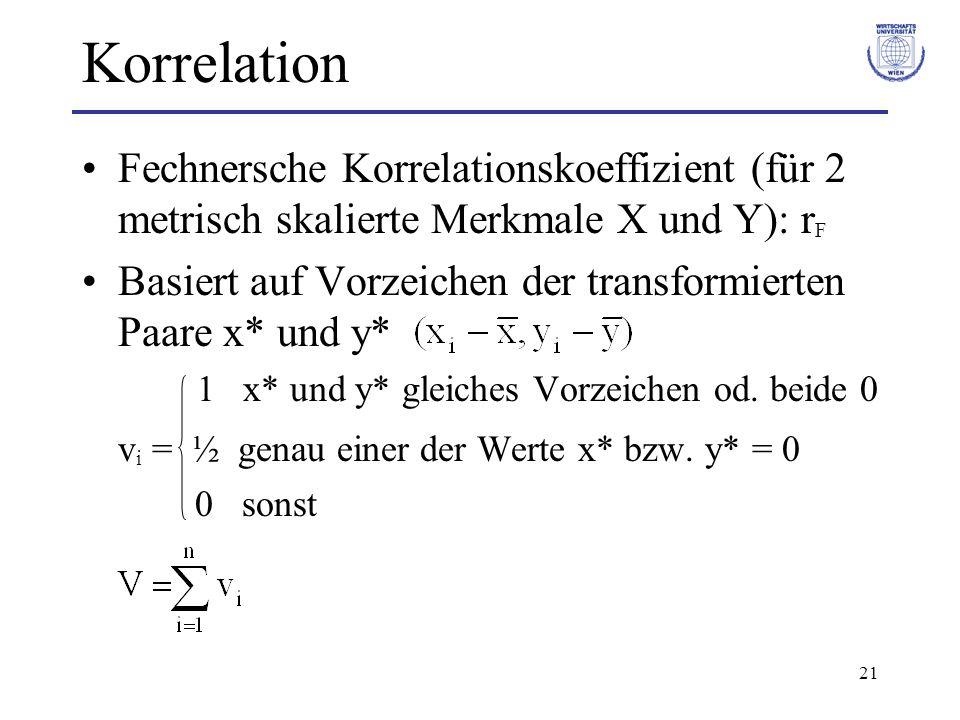 Korrelation Fechnersche Korrelationskoeffizient (für 2 metrisch skalierte Merkmale X und Y): rF.