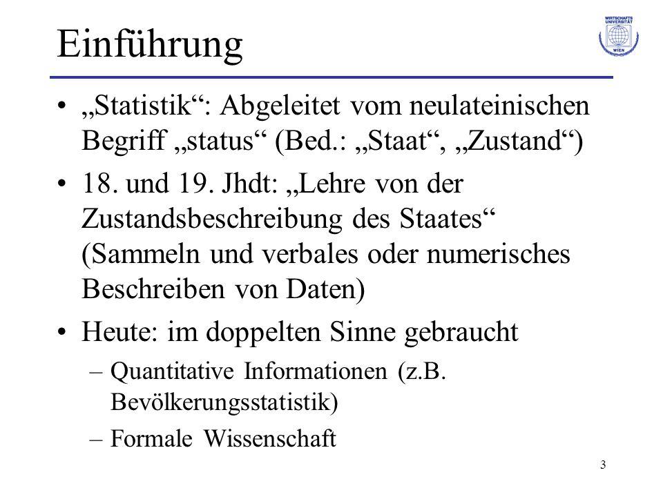 """Einführung """"Statistik : Abgeleitet vom neulateinischen Begriff """"status (Bed.: """"Staat , """"Zustand )"""