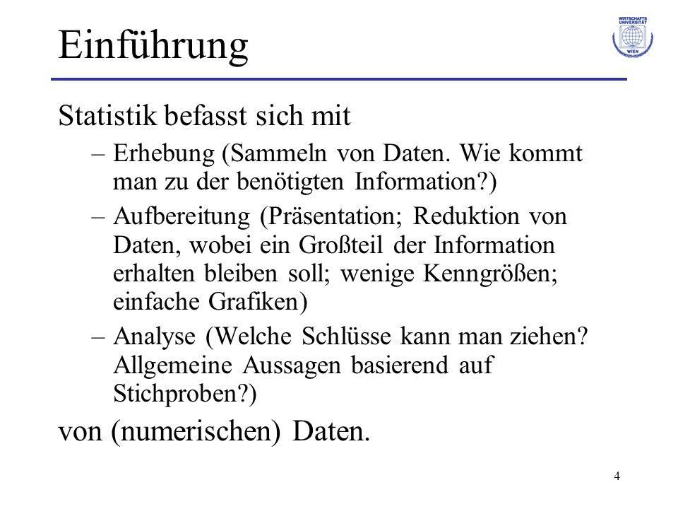 Einführung Statistik befasst sich mit von (numerischen) Daten.