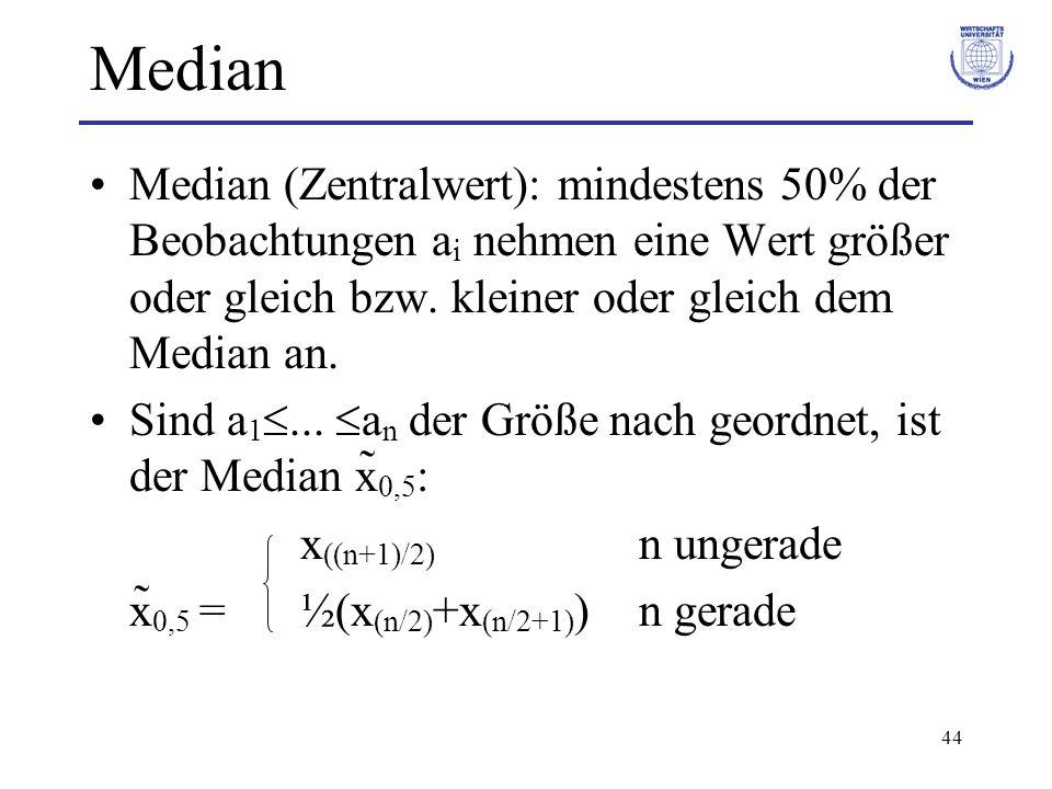 Median Median (Zentralwert): mindestens 50% der Beobachtungen ai nehmen eine Wert größer oder gleich bzw. kleiner oder gleich dem Median an.