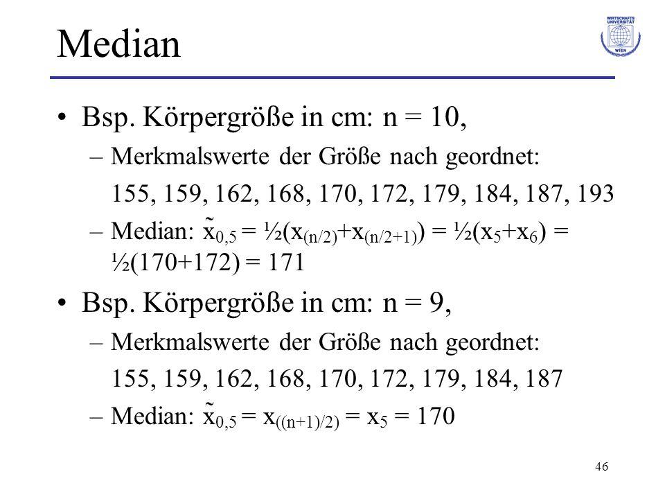 Median Bsp. Körpergröße in cm: n = 10, Bsp. Körpergröße in cm: n = 9,
