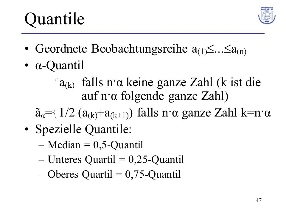 Quantile Geordnete Beobachtungsreihe a(1)...a(n) α-Quantil