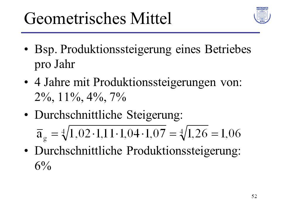 Geometrisches Mittel Bsp. Produktionssteigerung eines Betriebes pro Jahr. 4 Jahre mit Produktionssteigerungen von: 2%, 11%, 4%, 7%