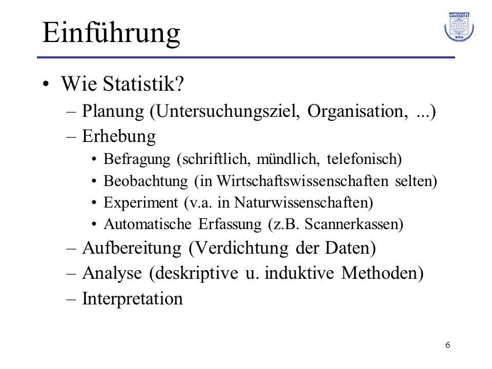 Einführung Wie Statistik