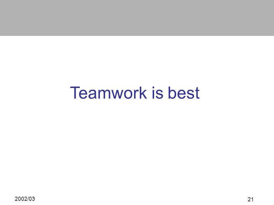 Teamwork is best 2002/03