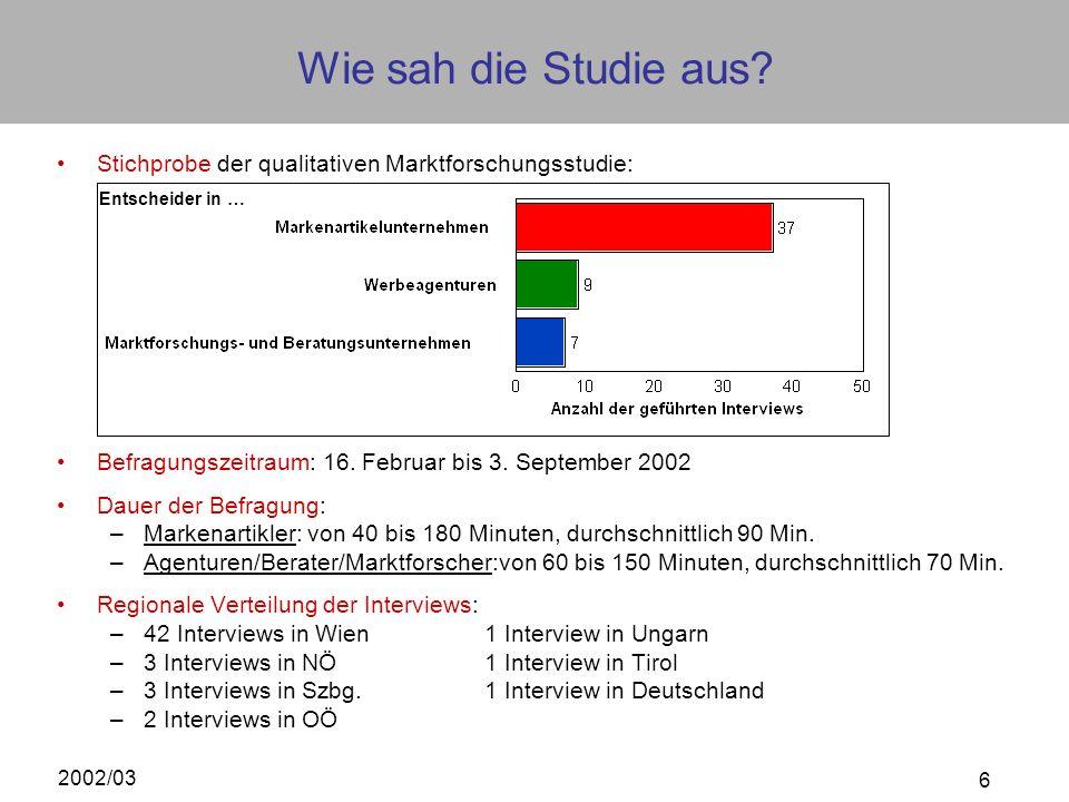 Wie sah die Studie aus Stichprobe der qualitativen Marktforschungsstudie: Befragungszeitraum: 16. Februar bis 3. September 2002.