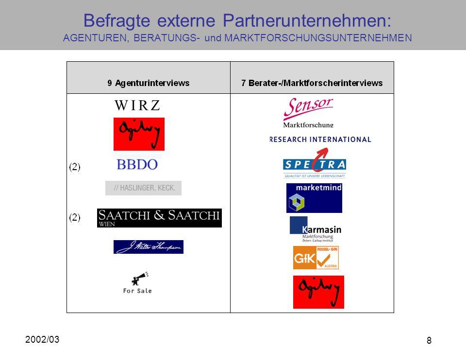 Befragte externe Partnerunternehmen: AGENTUREN, BERATUNGS- und MARKTFORSCHUNGSUNTERNEHMEN