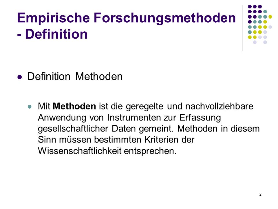 Empirische Forschungsmethoden - Definition