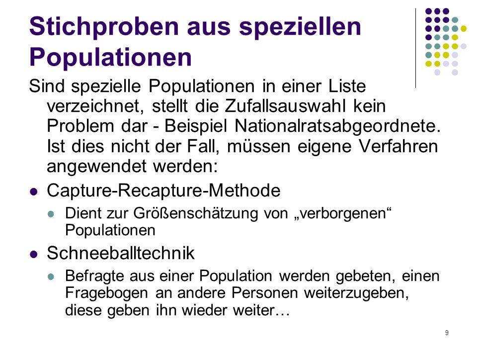 Stichproben aus speziellen Populationen