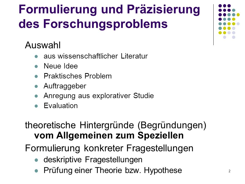 Formulierung und Präzisierung des Forschungsproblems