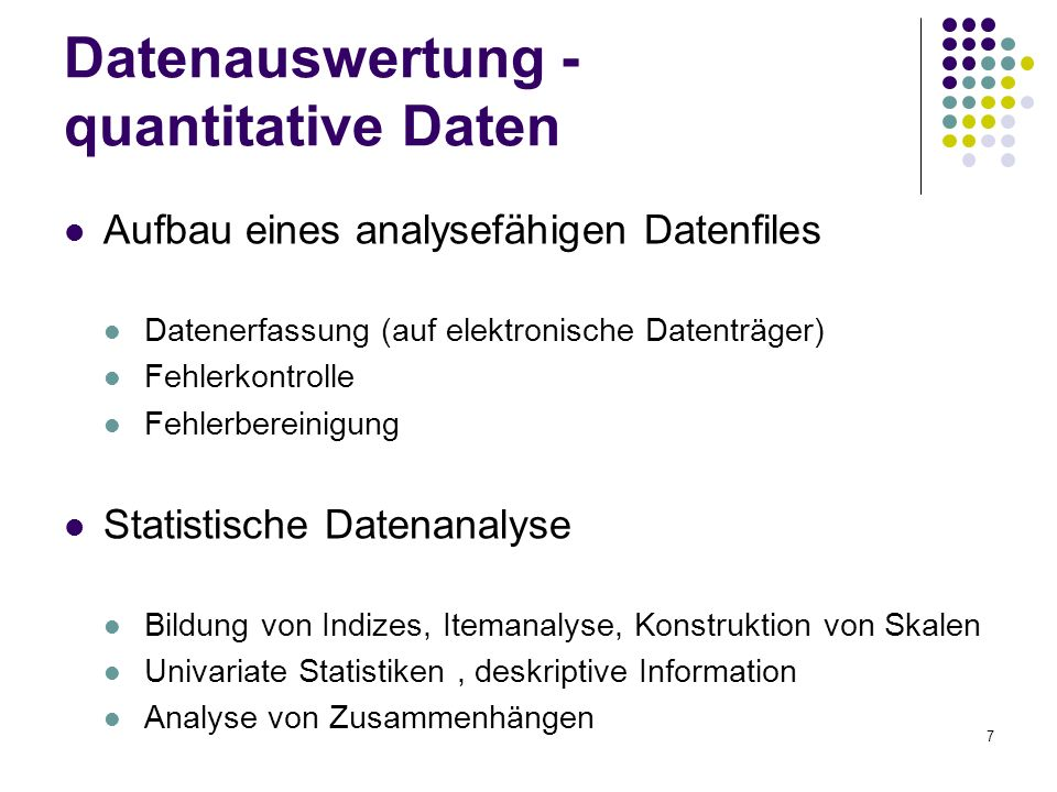 Datenauswertung - quantitative Daten