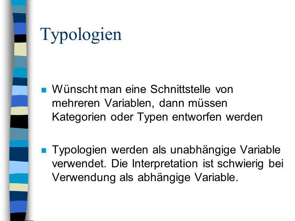 Typologien Wünscht man eine Schnittstelle von mehreren Variablen, dann müssen Kategorien oder Typen entworfen werden.